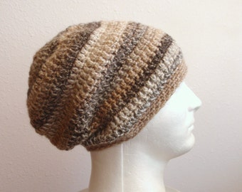 Crochet Man Slouchy Beanie, Brown Hat, Tan Gray Striped Crochet Beanie, Womens Hat, Mens Slouch Beanie, Gifts for Him