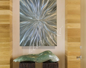 Abstract Silver Metal art Wall Decor vertical horizontal sculpture 3D effect video LED RGB Halogen colour modern original hand made by Lubo