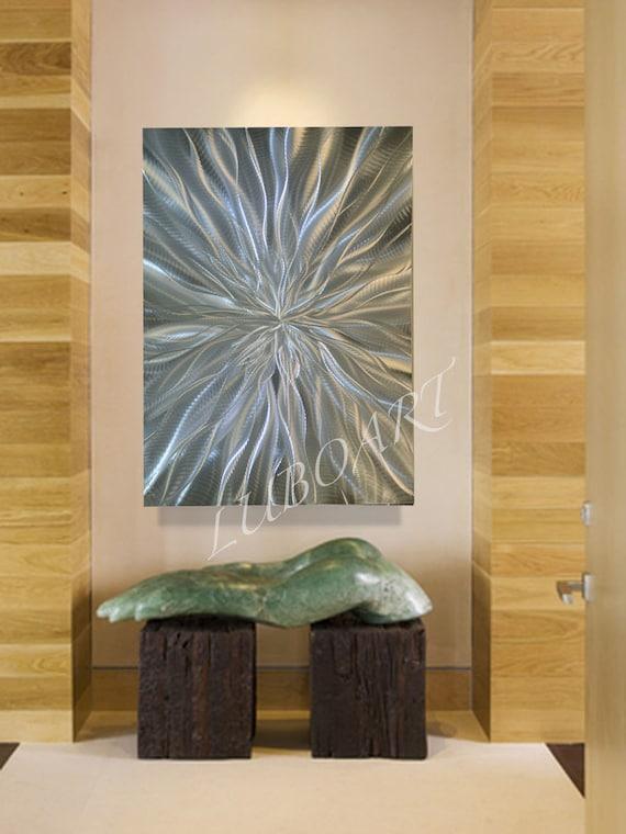 Vertical Metal Wall Decor : Abstract silver metal art wall decor vertical horizontal