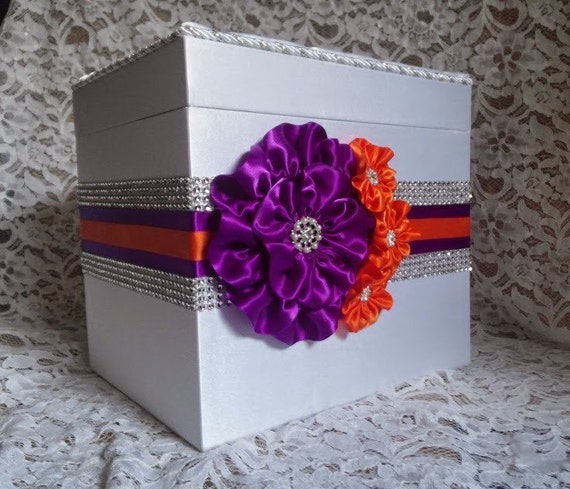 Purple Wedding Gift Card Box : Wedding Card Box, Wedding Money Box, Purple and Orange Card Box ...
