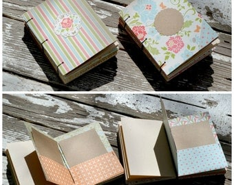 Set of Flowery Mini Coptic Stitch Bound Journal/Scrapbooks with Pockets and Kraft Journal Paper Insterts
