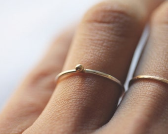 Golden Pebble || Sterling Silver Ring Pebble Dainty  Ring