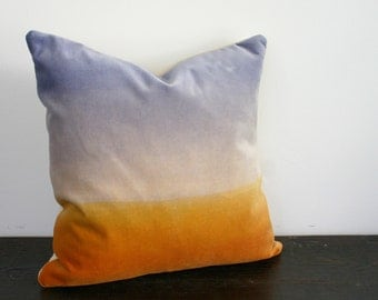 Ombre Sunset and Sky Hand Dyed Velvet and Wool Throw Pillow