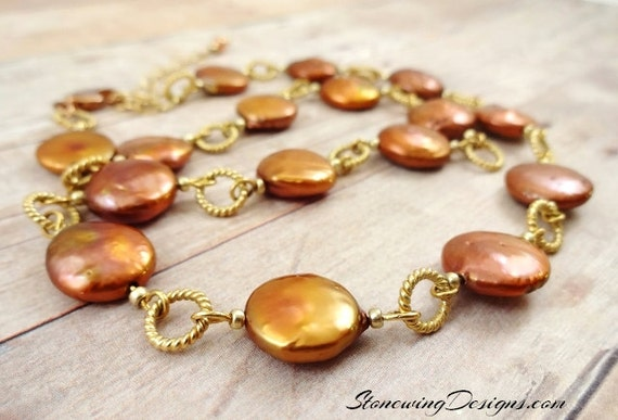 Copper Coin Pearl Necklace