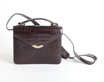 Women's Vintage Brown Reptile Leather Shoulder Bag, Leather Crossbody, Small Brown Purse