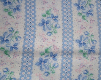 Vintage French Cotton Fabric Blue and White Stripes Violets Suitable for Pillows Lavender Bags Feedsack