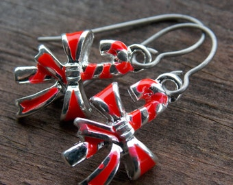 Titanium Candy Cane Earrings, Enameled Silver Candy Cane Charms with Hypoallergenic Titanium Ear Wires
