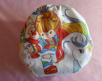 SassyCloth one size pocket diaper with Rainbow Brite cotton print. Made to order.
