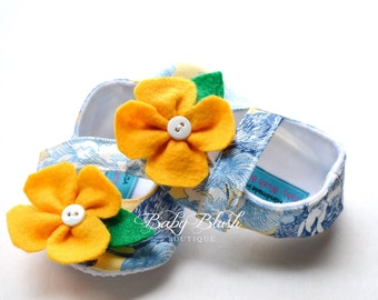 Blue Yellow Maryjane Baby Shoes with Yellow Flower