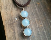 Triple Moon Goddess Opalite Moonstone Wire Wrapped Antique Style Pendant