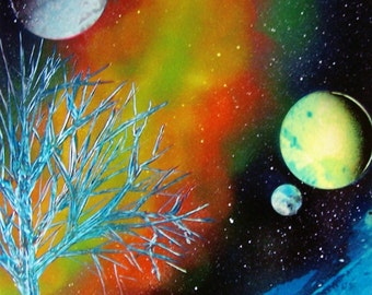 "Spray Paint Art Original Abstract Space Landscape Poster 14"" x 11"""