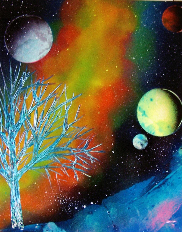 Space Spray Paint Art Etsy