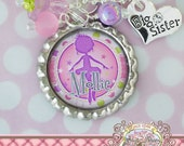 Big SISTER BALLERINA Gift, Necklace, Personalized Bottle Cap Necklace, Big Sister Charm, Dancer Gift, Birthday, Gift, New Sister, Polka Dot