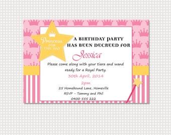 Princess Birthday Invitation Printable Personalized
