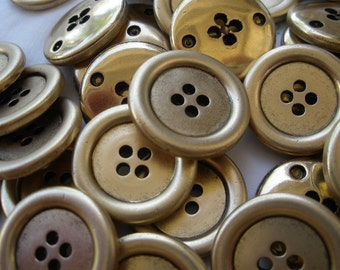 Wholesale 21MM Antique Matte Gold Buttons Metallic plastic 4 hole sew on rustic sewing coats crafts knit crochet rustic retro bulk lots