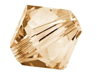 Swarovski Crystal Gold Shadow Bicone 4mm Xilion ( 5328 ) - Qty 24