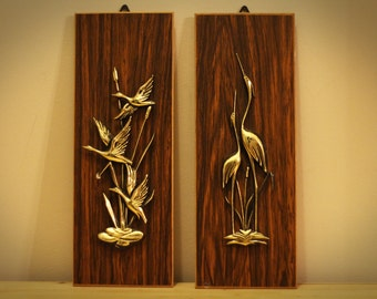Wood Panel/Gold Bird Wall Art Set