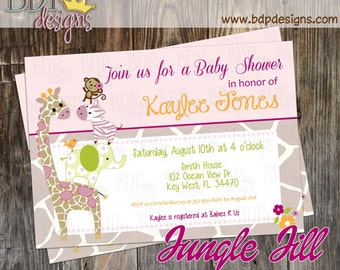 Jungle Jill Baby Shower Invitation - Customized Digital Download OR Prints (Details Below)