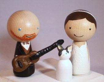 New Guitar Topper Wedding Topper with One  Pet Custom Kokeshi Wedding Cake Topper Kokeshi Doll Wedding Toppers Custom Cake Toppers