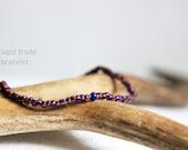 lapiz trade bracelet for men - mens small bead bracelet with gem center - Maria Helena Design