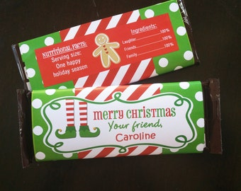 Personalized Christmas Candy Bar Wrappers Printable - Elf Feet