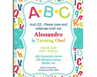 ABC Invitation Printable or Printed With FREE SHIPPING - A B C Collection