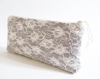 Gray Clutch Bag for Bride, Garden Wedding Bridal Lace Purse, Bride To Be Gift, Evening Event Purse for Her