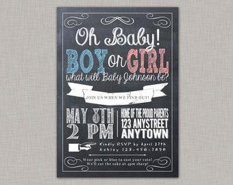 Gender Reveal Invitation, Gender Reveal Party, Gender Reveal Invite, Chalkboard
