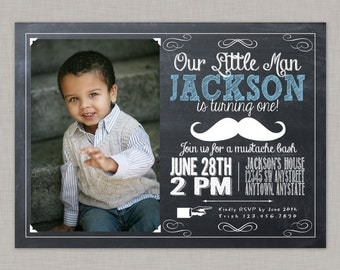 Little Man Invitation, Mustache Bash, Mustache Invitation, Birthday Invitation