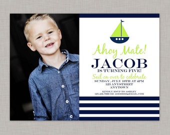 Nautical Invitation, Nautical Birthday Invitation, Nautical Birthday Party, Printable