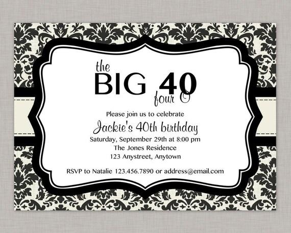 40th Birthday Party Invitation Cream Black Damask