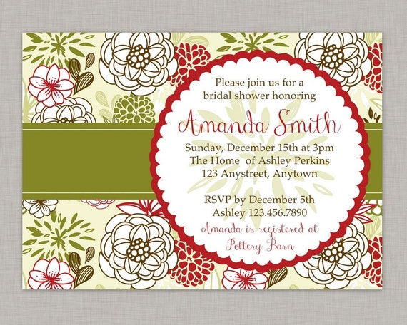 Christmas Bridal Shower Invitation Baby Shower Invitation Floral – Christmas Wedding Shower Invitations