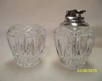 Vintage Princess House Cut Crystal Toothpick Holder and Lighter Set