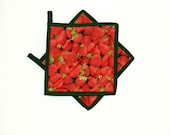 Pot Holders Quilted Strawberry Red Green Set of 2