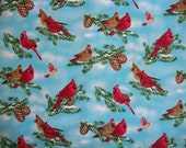 Bird Fabric By The Yard Elizabeth Studio Cardinals Pinecones Quilting Sewing Spring Summer Fabric