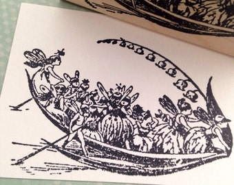 Leaf Boat with Fairies Rubber Stamp 5518 T