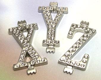 Supply Metal Silver Rhinestone Letters, XYZ, silver metal letters, jewelry supply, jewelry supplies, jewelry destash, destash lot