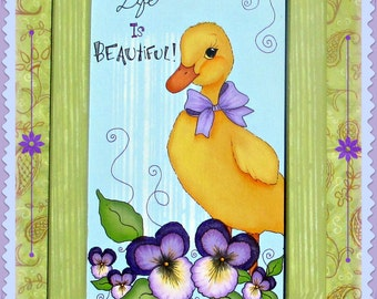 E-PATTERN - Life is Beautiful! Little Duckling and lots of Pansies ~ Designed & Painted by Sharon Bond - FAAP