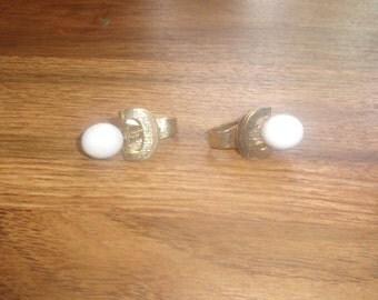 vintage clip on earrings goldtone white