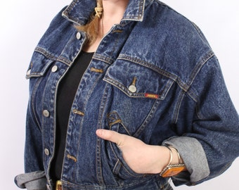 Vintage - 80s 90s - Medium Dark Wash - Slouchy - Button Up - Denim - Blue Jean Jacket - Womens - Jordache