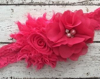 Hot Pink Headband Chiffon Headband Baby Headband Baby Girl Headband Birthday Headband Photo Shoot Headband