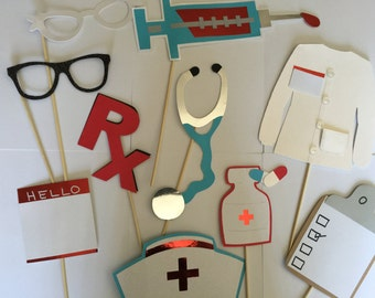 NURSES  or DOCTOR photo booth props for grads and hospital events.