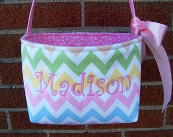 Fabric Easter Basket - Pink, Blue, Yellow, Lavender, and Green Chevron Zig Zag on White - Personalization Included - Great Storage Bin