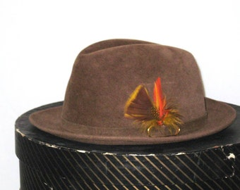 60s Brown Fedora Hat Biltmore Velurin Hat with Feather Fur Felt Fedora 1960s Hat Brown Hat Fedora Mens Hat Biltmore Hat Made in Canada