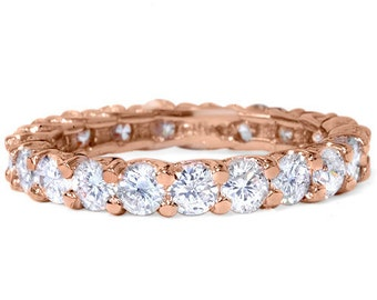 3.00Ct Diamond Rose Gold Eternity Ring 14K Womens Anniversary Stackable Band Size 4-9