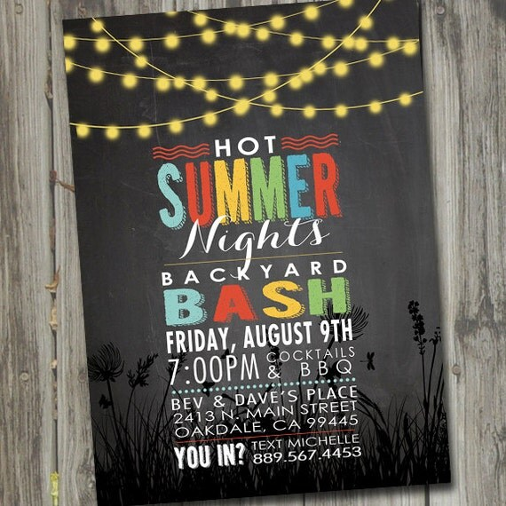 Summer Backyard Party Invitation :  Summer Party Invitation, Backyard BBQ Invitation, Summer Party Invites