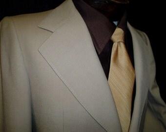70s 40S Henley Men's Jacket Sport Coat Beige Taupe