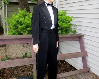 1940s 40R Cut Away Tails High Waisted Wool Tuxedo Tux Black Fashion Craft McMorran's