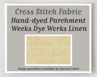 PARCHMENT Hand-dyed counted cross stitch fabric by Weeks Dye Works at thecottageneedle.com 30 ct. count overdyed linen WDW hand embroidery