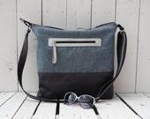 Tote Bag Canvas ~ Striped Zipper Cross Body Messenger, unique gift for best teacher, husband laptop carrier, macbook pack, overnight bag
